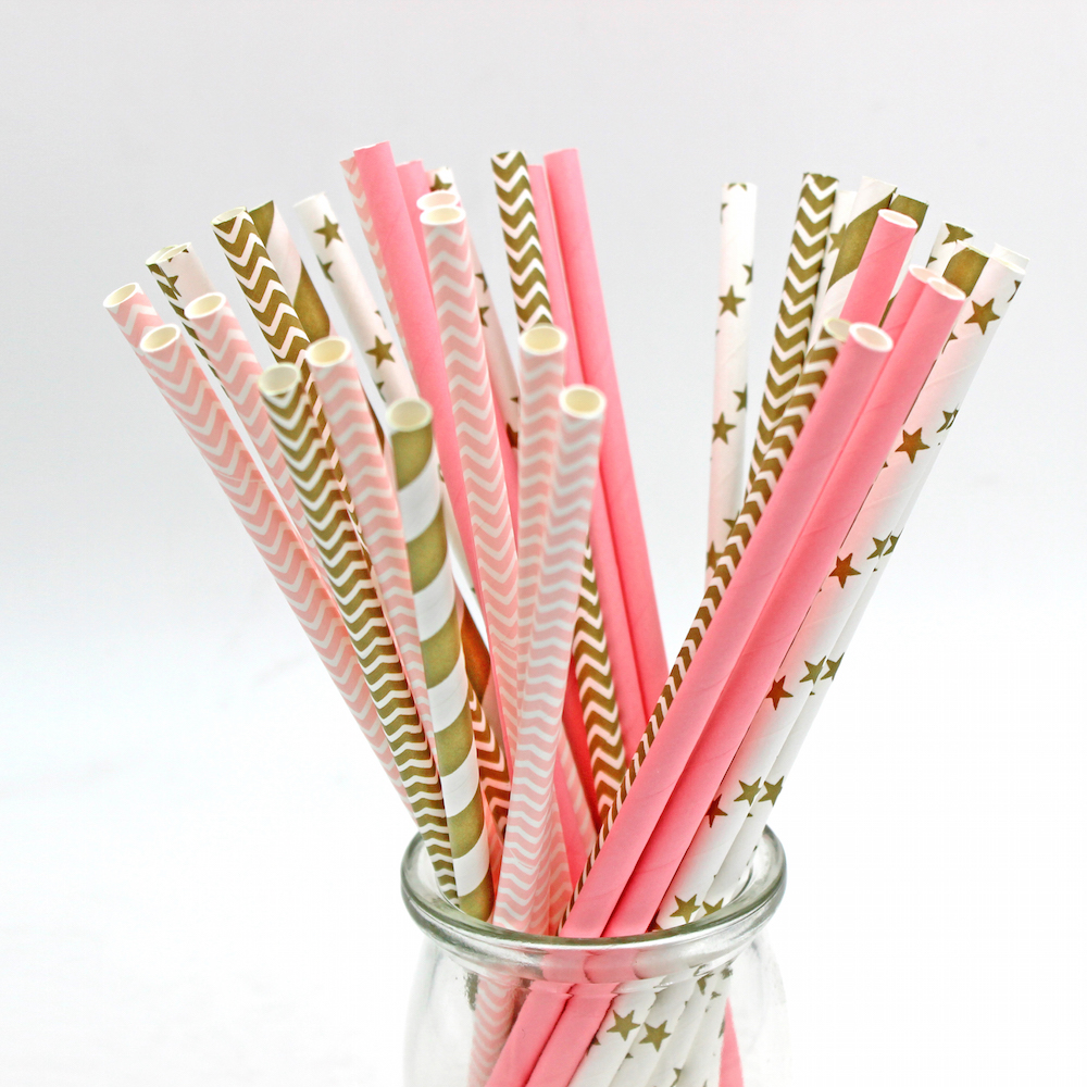 decorative straws for weddings 125pcs 5bags pink gold striped mixed wedding decorative 3463