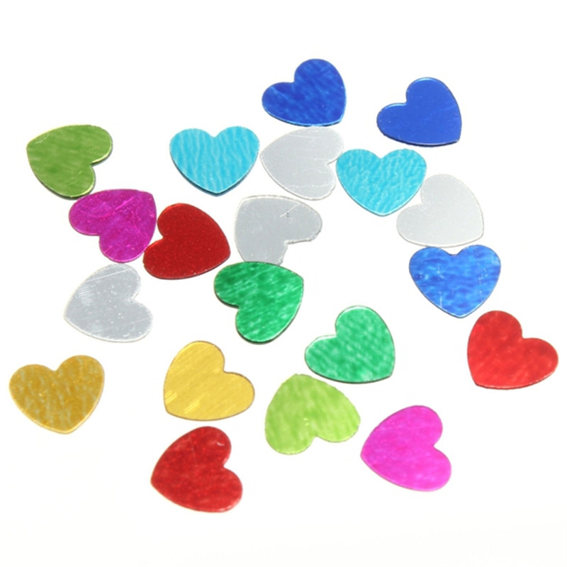 200pcs multicolor wedding sparkle love heart confetti for Deco table multicolore