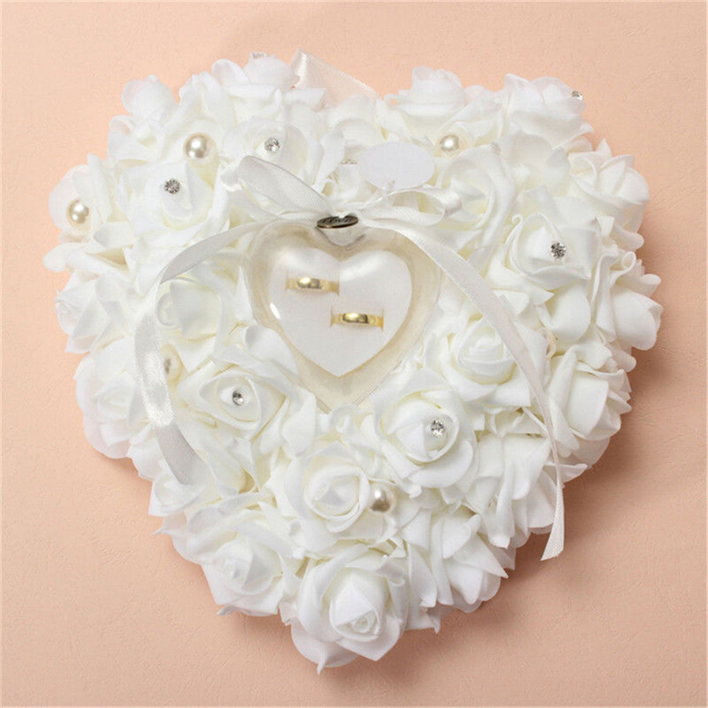 romantic wedding jewelry case ring bearer pillow holder wedding look - Wedding Ring Holder