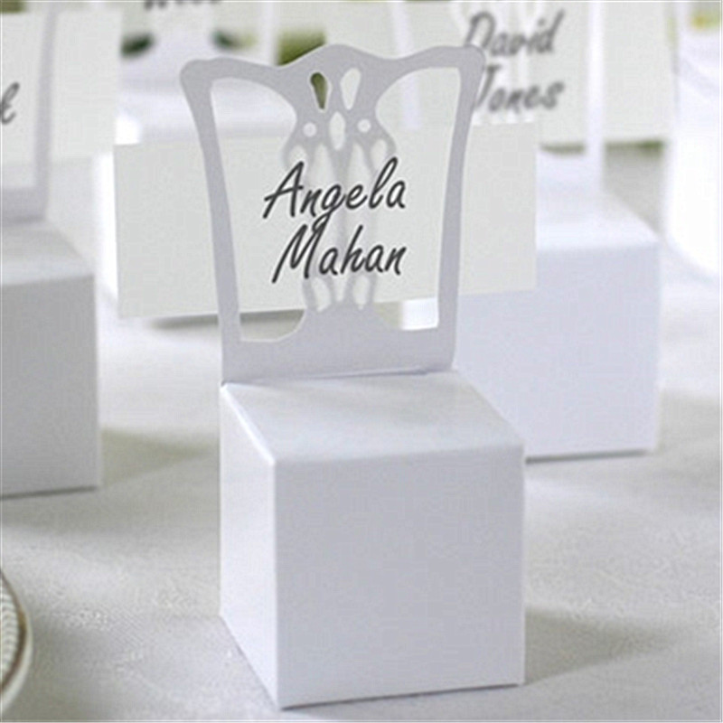 100pcslots Chair Place Card Holder And Favor Box Wedding Decoration