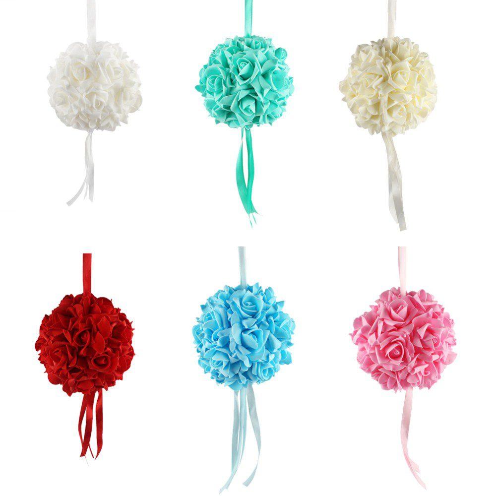 10pcs14cm Foam Flower Ball Artificial Rose Hanging Kissing Balls for ...