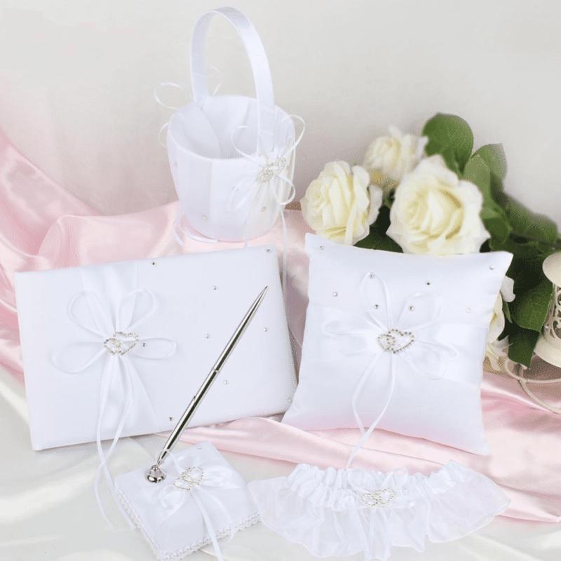 5Pcs Set Satin Wedding Ring Pillow And Flower Basket Wedding Guest