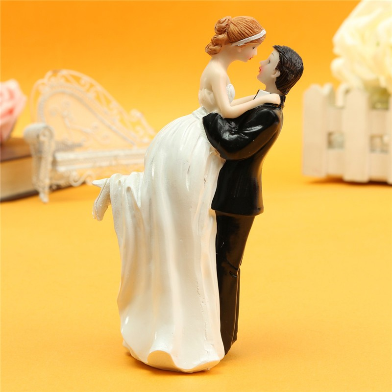 Bride And Groom Resin White Stand Wedding Cake Topper - Wedding Look