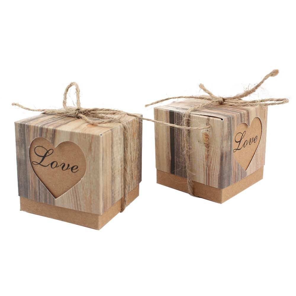 50pcs Lot Heart Candy Box With Burlap Twine For Wedding Decoration Look