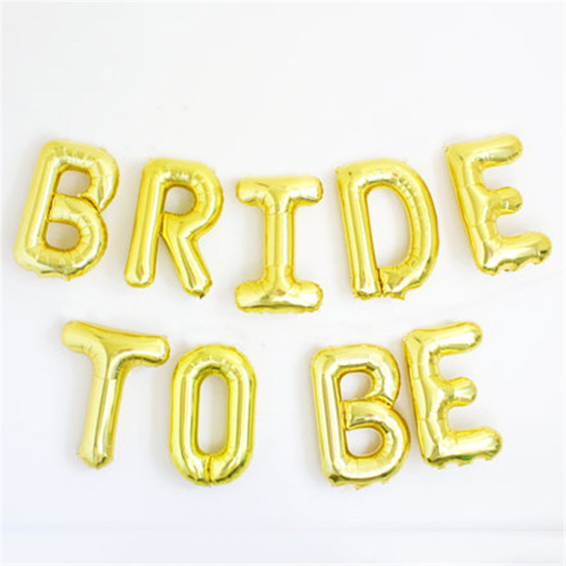 1set 16inch Bride/Bride To Be Number Foil Letters Balloons