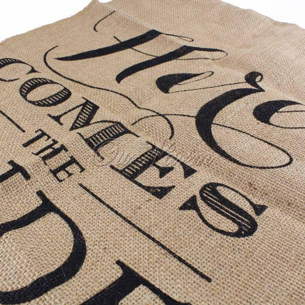 Khaki here comes the bride natural jute fabric burlap Decoration kaki