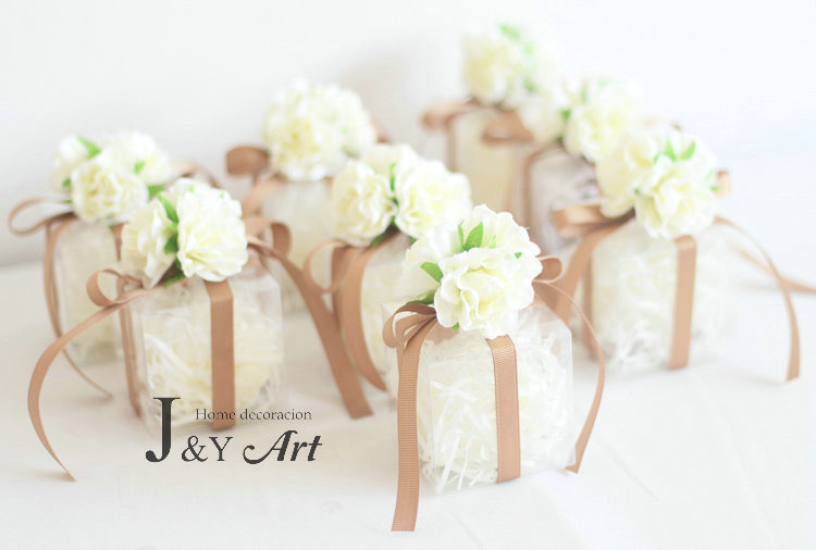 Favors Gift Bo Candy Box 10 Pcs Flower Plastic With Transpa Silk Wedding Party Decoration Therapyboxfo