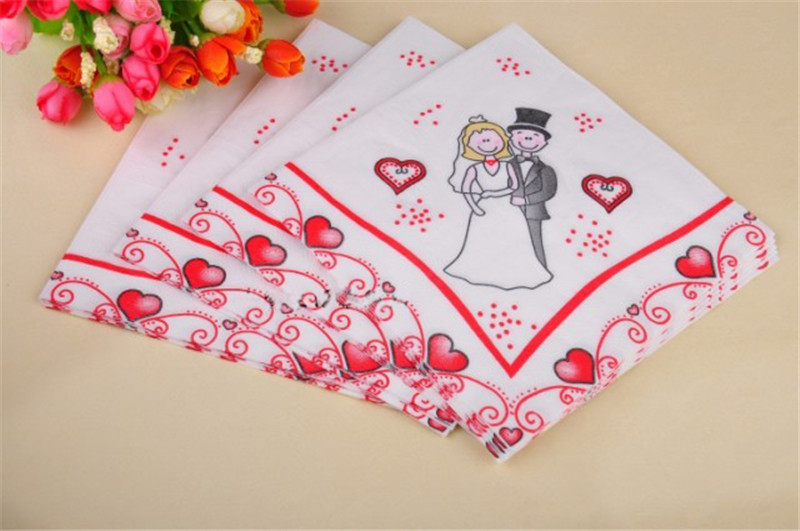 20pcs pack bride and groom wedding decorative paper napkins table decor wedding look