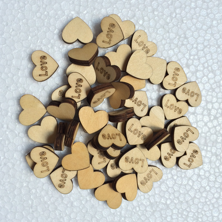 Rustic Country Wedding Decoration Wooden Love And Vine: 50pcs Wooden Heart Love Rustic Wedding Table Decoration