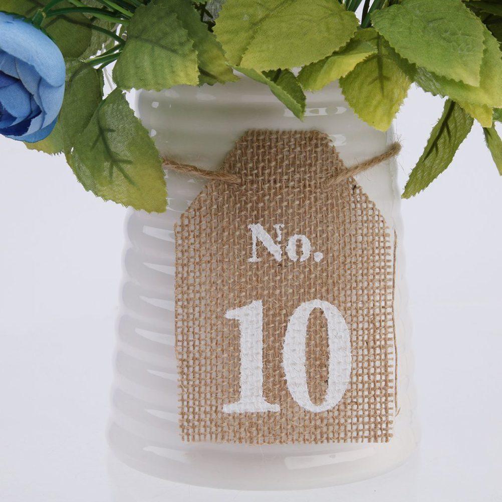 Rustic Jute Vintage Wedding Table Numbers 1-10 - Wedding Look