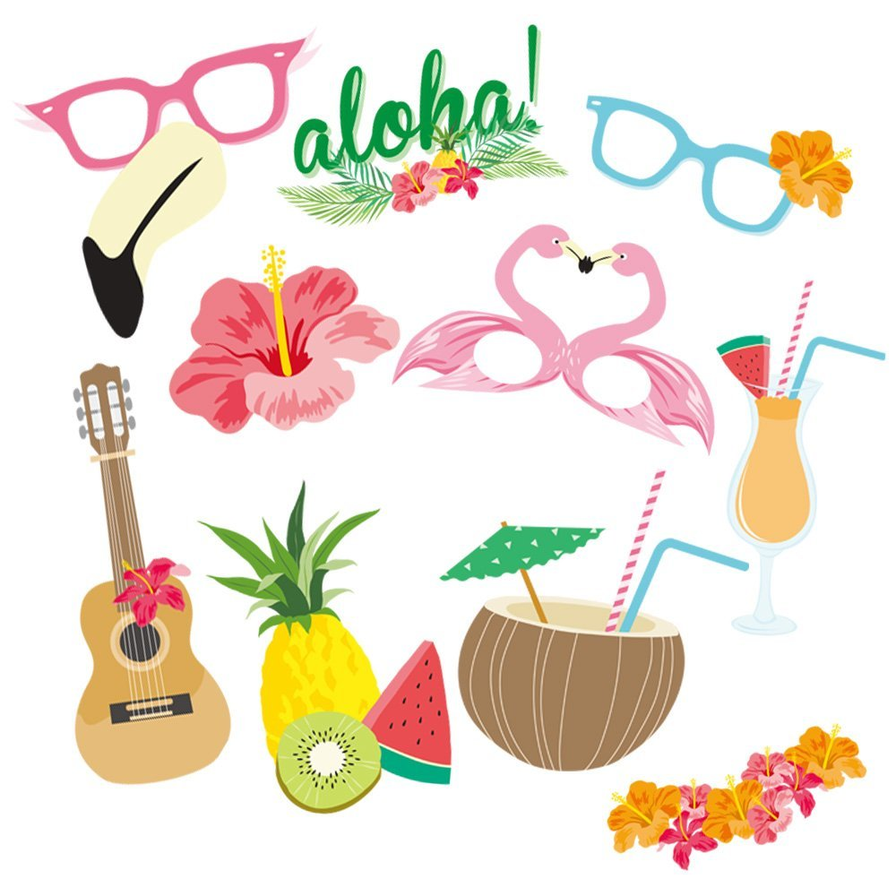 10pcs Hawaii Style Photo Booth Props Party Wedding Decoration Look
