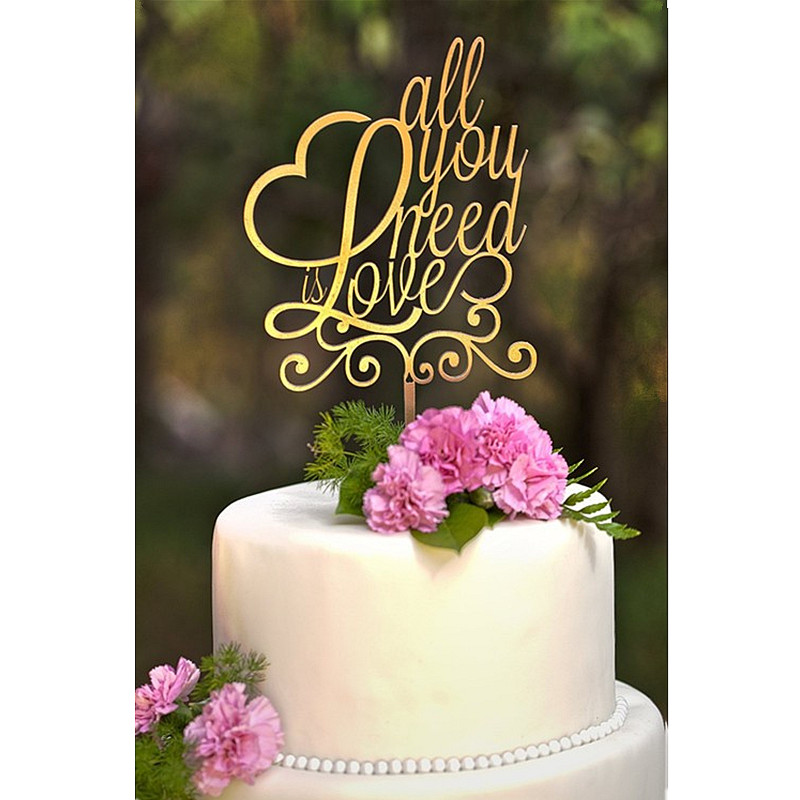 love heart wedding cake toppers mirror gold quot all you need is quot wedding 16953