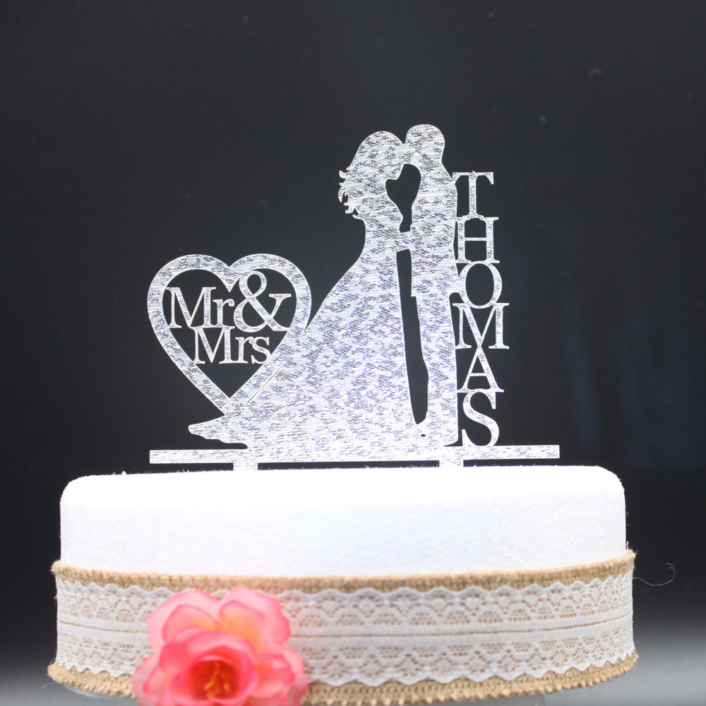 Personalized Acrylic Silver Gold Glitter Wedding Cake ...