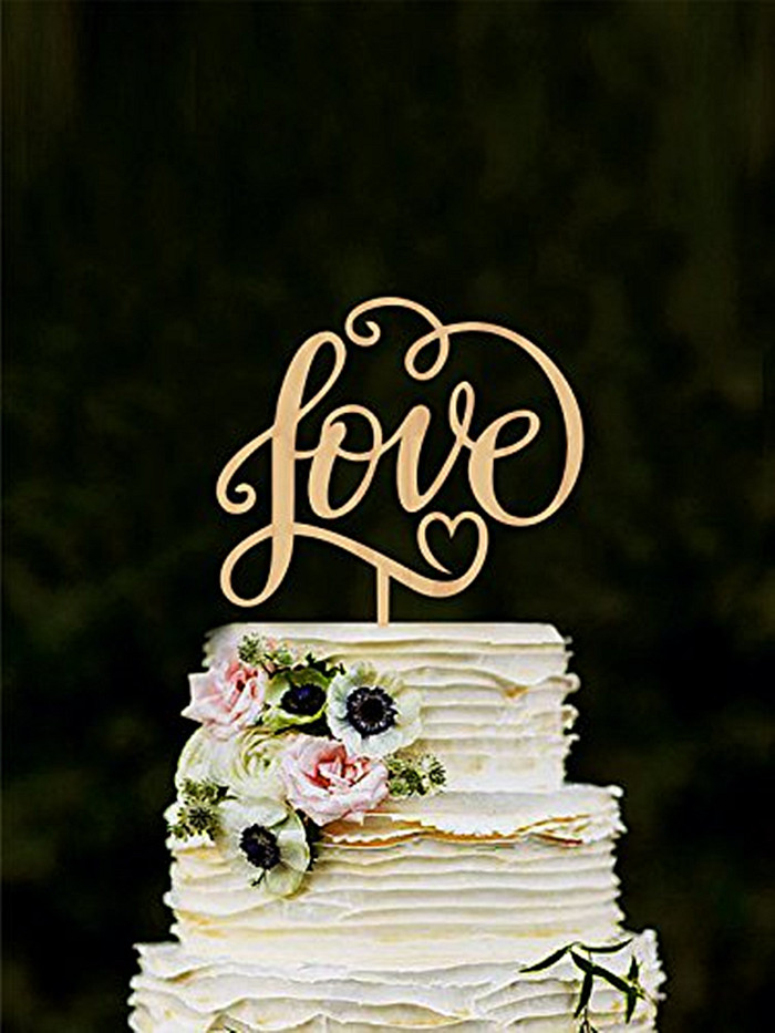 Rustic Love Wood Wedding Cake Topper