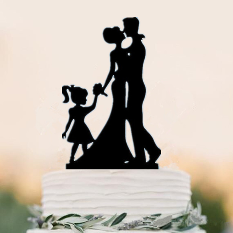 wedding cake toppers bride groom daughter family groom child silhouette wedding 26425