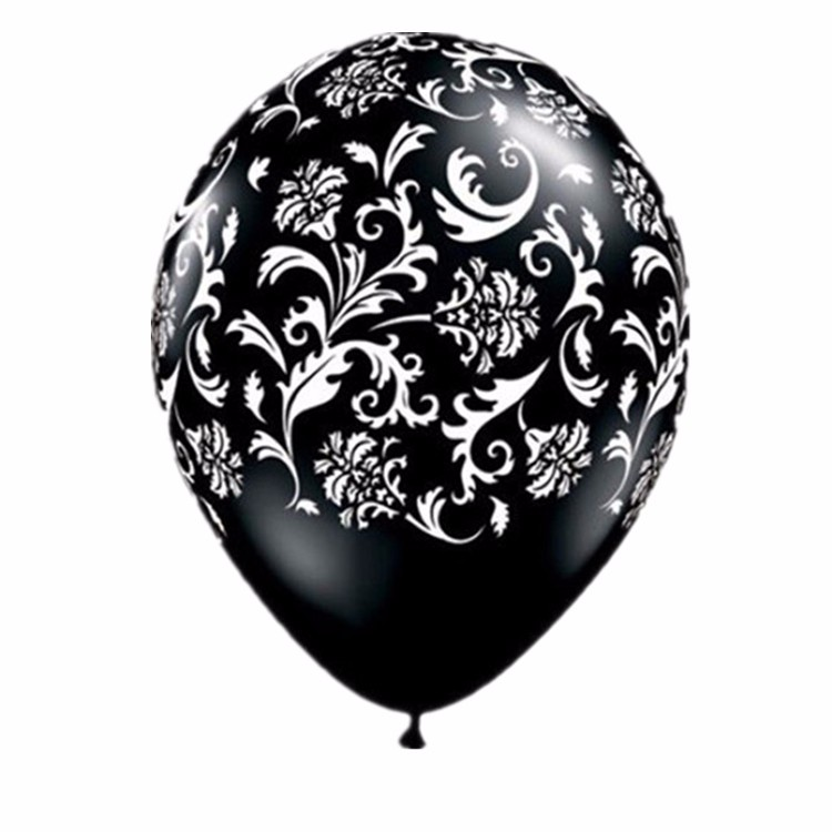 200pcs lot damask print black white 12 latex balloons wedding decoration wedding look. Black Bedroom Furniture Sets. Home Design Ideas