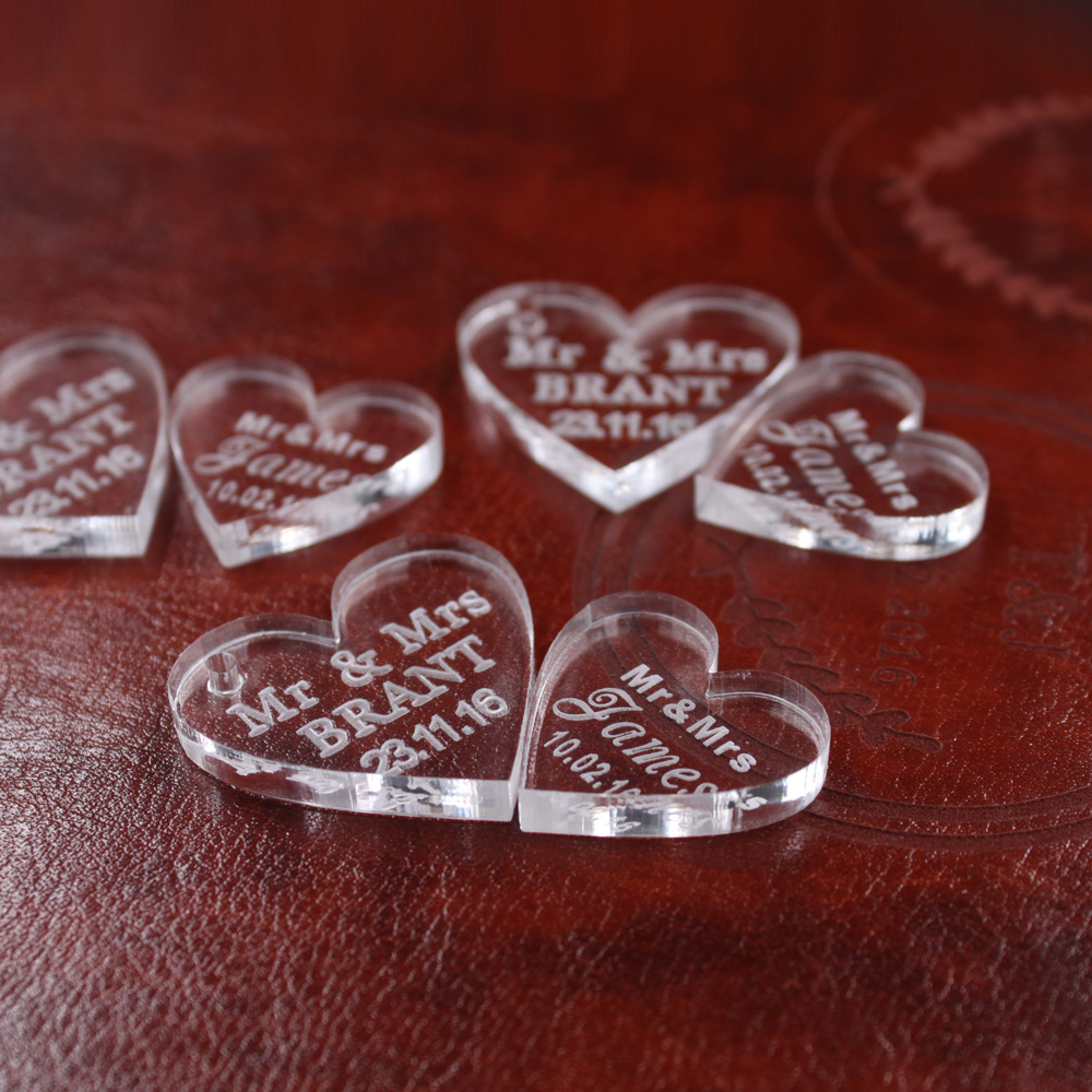 Personalised Hearts Table Decoration Wedding Favours Engraved