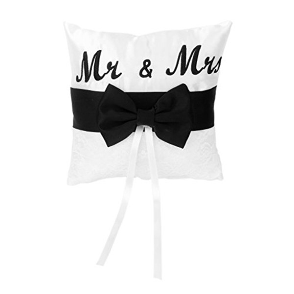 Mr & Mrs Satin Ribbon Bowknot Wedding Ring Pillow