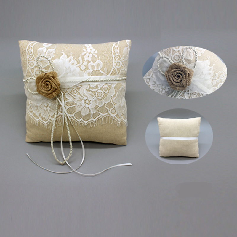 Elegant Rose With Lace Wedding Linen Ring Pillow - Wedding Look