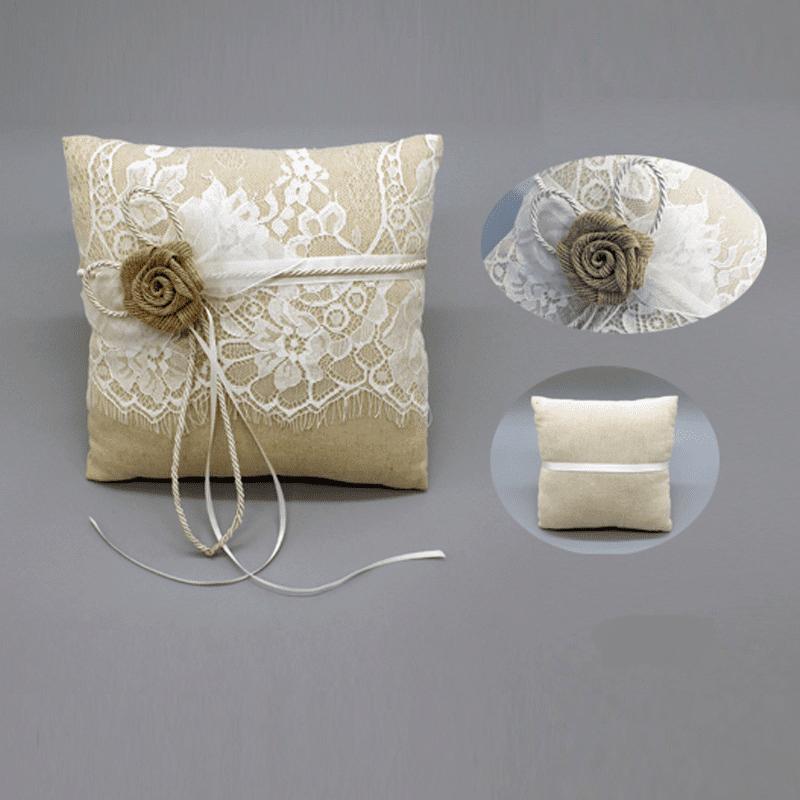Traditional Wedding Ring Pillow : Elegant Rose With Lace Wedding Linen Ring Pillow - Wedding Look