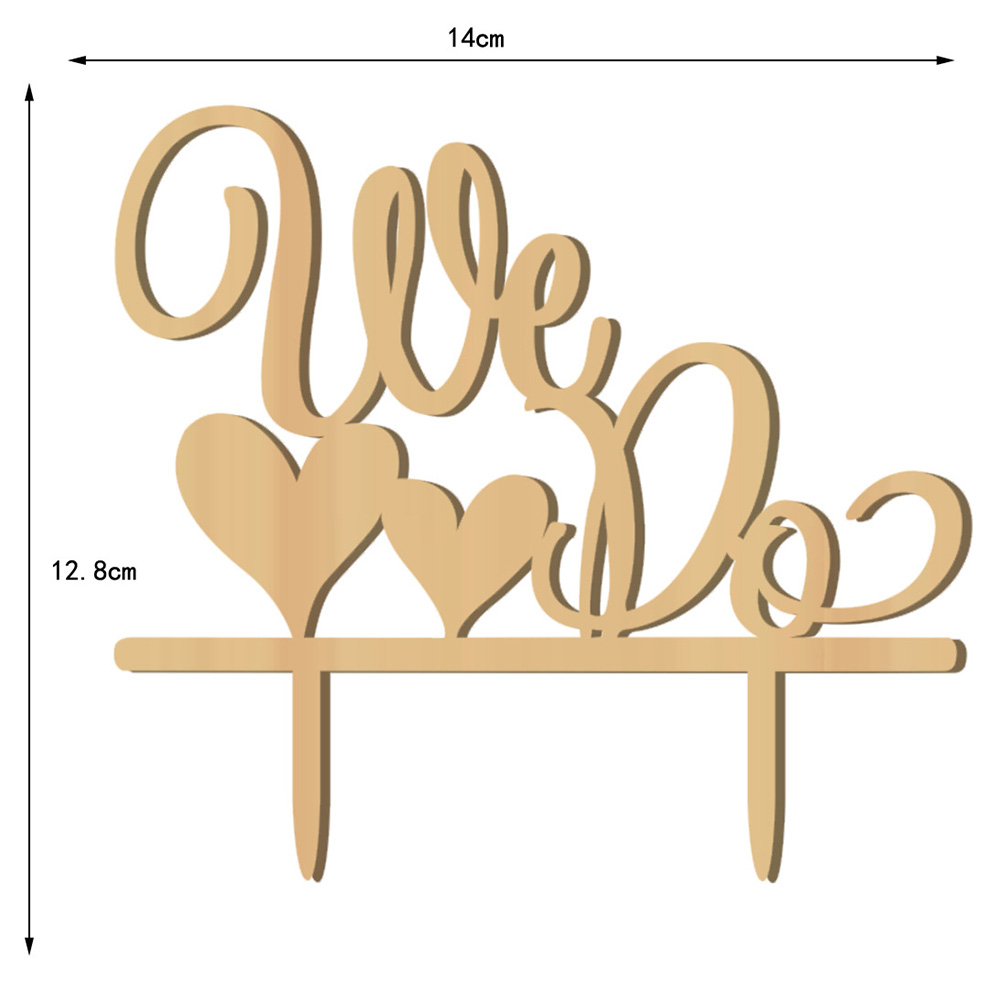 romantic double heart shaped we do wooden wedding cake topper decoration wedding look. Black Bedroom Furniture Sets. Home Design Ideas