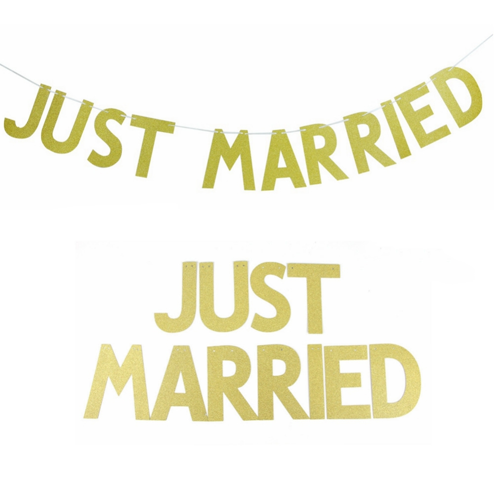 dddbcc7a078 3M(10Pcs) JUST MARRIED Gold Glitter Banner Bunting Letter Wedding  Decoration - Wedding Look
